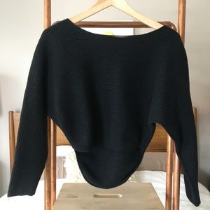 Wilfred cropped black ribbed 100% wool sweater